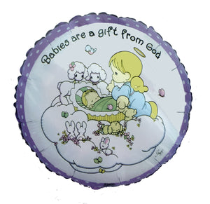 "Precious Moments Babies Are Gift From God 18"" Party Balloon Baby Shower, New Baby Arrival, Baptism, Christening"
