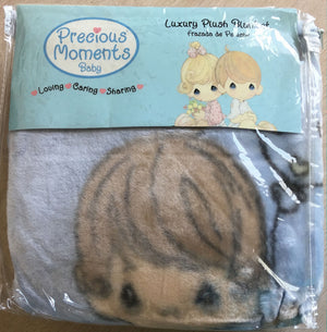 "Vintage Precious Moments Baby Girl Boy Blanket Luxury Plush 30"" x 45"""