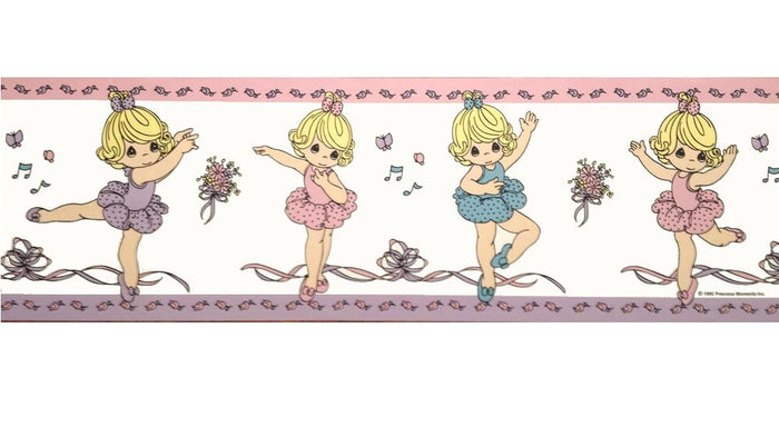 Precious Moments Ballerina Wall Border Peel & Stick Pink Purple Blue Girl Tutus