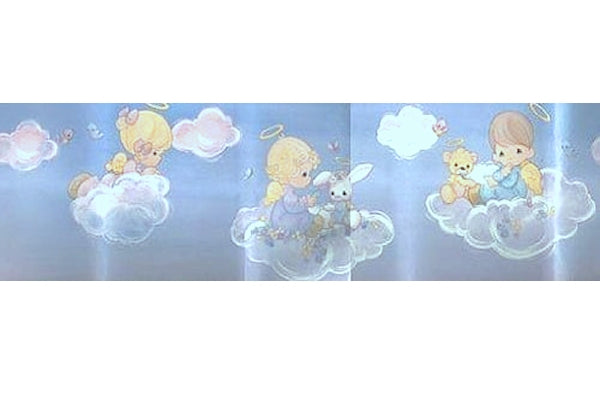 Vintage Precious Moments Angel Babies Wall Border Peel & Stick Blue