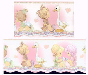 Precious Moments Girls Wall Border Scalloped Edge Girl with Goose