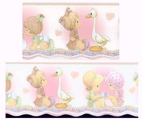 Vintage Precious Moments Girl with Goose Pre-Pasted Scalloped Wall Border