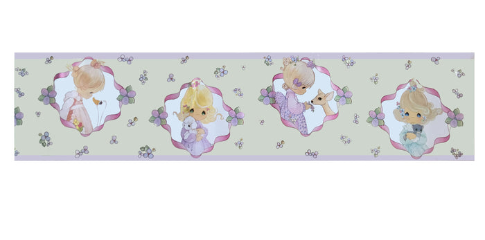 Precious Moments Girl & Animal Friends Medallion Yellow Wall Border Peel & Stick