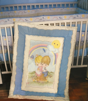 Precious Moments Love One Another Vintage Baby Crib Set Comforter Bumper Sheet Skirt
