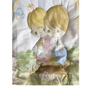 Vintage Precious Moments Love One Another Baby Crib Bedding Set & Musical Mobile Nursery Collection Boy & Girl - Bumper Flaw