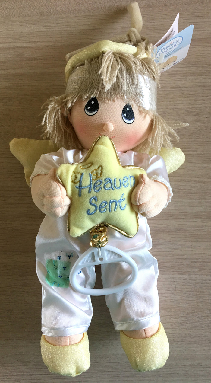 Precious Moments Angel Boy Baby Doll Pull Down String Musical Crib Toy 'Heaven Sent' with Star Large 12""