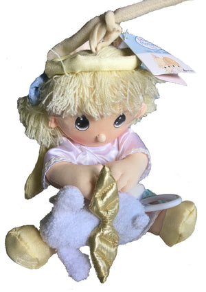 Precious Moments Angel Girl Baby Doll Pull Down String Musical Crib Toy with Lamb Large 12""