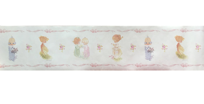 Vintage Precious Moments Girls Pink Ribbons Pre-Pasted Wall Borders 30 ft 2-Roll Set