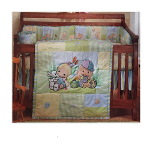 Vintage Precious Moments Nature's Babies 5pc Nursery Collection - Baby Crib Boy Girl Bedding Set & Musical Mobile