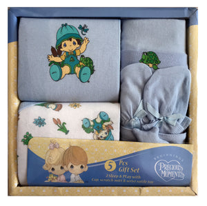 Precious Moments 5-Piece Baby Boy Layette Gift Set Nature's Babies - 2 Blue Sleep & Play, Hat, Mittens, Wrist Toy