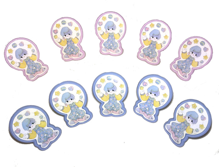 Precious Moments Clowns Cake Toppers or Cupcake Party Rings 5 CT Pink or Blue