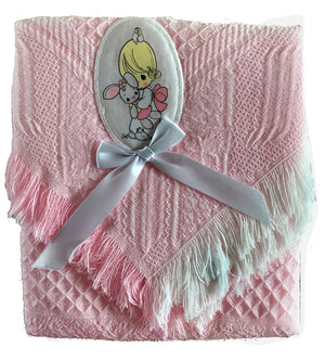 Precious Moments Baby Girl Pink Blanket Shawl Throw with Applique Baby Shower Gift Box