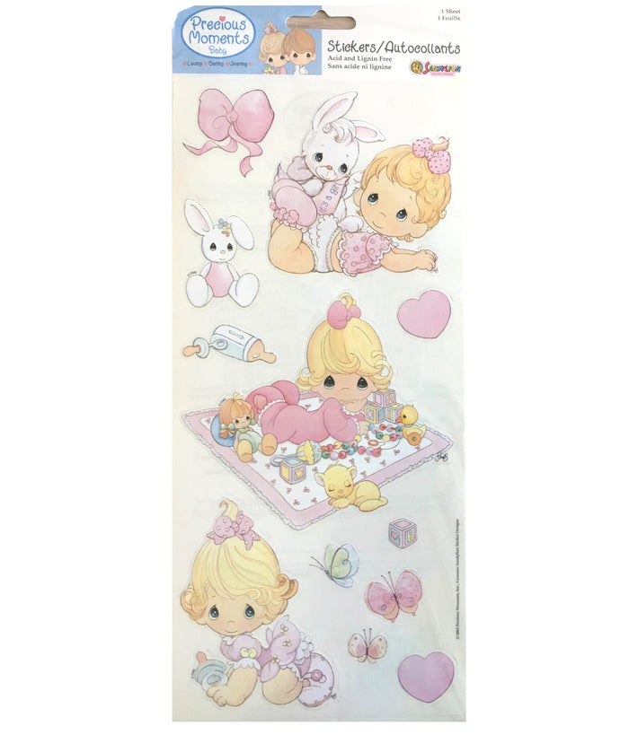 "Precious Moments Scrapbooking Stickers Baby Girls Vintage Border Sheets 5 1/2"" x 12"""
