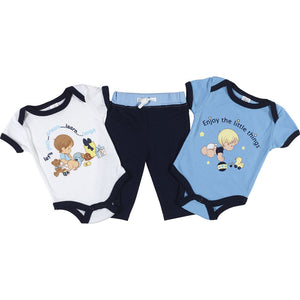 Precious Moments Baby Boy Outfit 3-Piece Blue Layette Gift Set 0-3 M Bodysuits & Pants