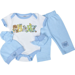 Precious Moments Baby Boy 5-Piece Blue Layette Gift Set 0-3 M - Hat Mittens Booties Onesie Pants