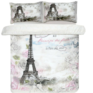 Paris Rose Bedding Twin Full Queen Duvet Cover Set Eiffel Tower Pink Flowers