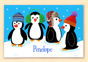 "Chilly  Penguins Personalized Placemat 18"" x 12"" with Alphabet"