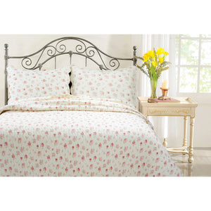 Shabby Chic Cream & Red Rose Bud Print Bedding Full/Queen & King Country Cottage Elegant Romantic Quilt Set