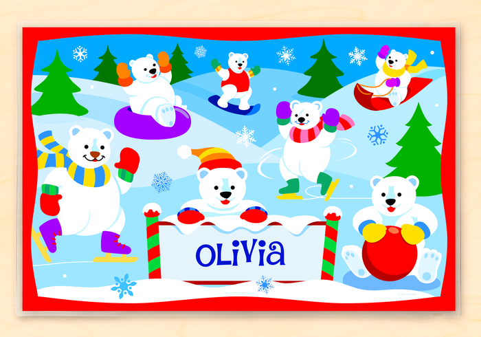"Christmas Polar Bears Personalized Placemat 18"" x 12"" with Alphabet"
