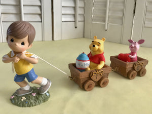 Vintage Precious Moments Disney Winnie The Pooh & Piglet Birthday Train Collectible Figurine 3-Piece Set - Baby's 1st and 2nd Year