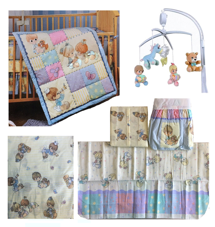Vintage Precious Moments Precious Friends Crib Bedding Set, Accessory Set & Musical Mobile 7pc Nursery Collection