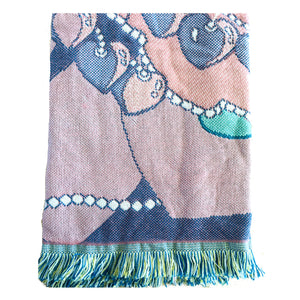 "Precious Moments Vintage Triple Woven Jacquard Girl Blanket Throw 48"" x 60"" You Have Touched So Many Hearts"