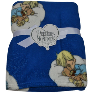 "Precious Moments Baby Boy & Bear Sleeping Navy Blue Plush Fleece Blanket 30"" x 40"""