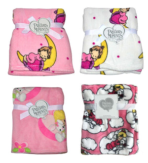 Precious Moments Baby Girl Plush Fleece Blankets Nursery Crib Size