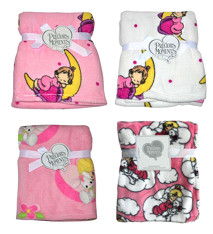 Precious Moments Baby Girl Plush Fleece Blankets Crib Size