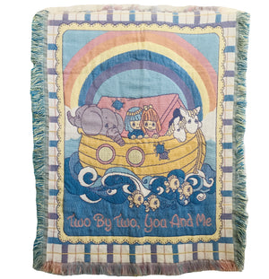 "Precious Moments Noah's Ark Vintage Triple Woven Jacquard Baby Crib Blanket Throw Two By Two 32"" X 43"""