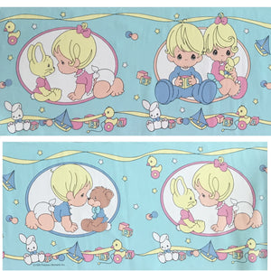 Vintage Precious Moments Wall Border Peel & Stick Babies Collection - Aqua Blue