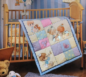 Vintage Precious Moments Precious Friends 5pc Nursery Collection - Crib Bedding Set, Musical Mobile