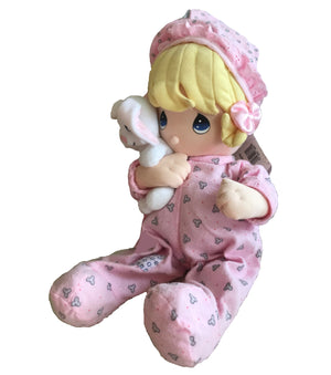 Precious Moments Baby Girl Doll Pull Down String Musical Crib Toy with Bunny Large 12""