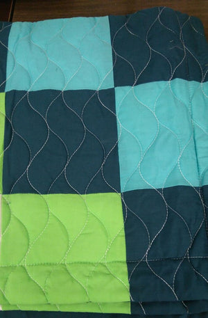 Green Navy& Turquoise Blue Geometric Teen Boy Bedding Full/Queen Quilt Set - Detail