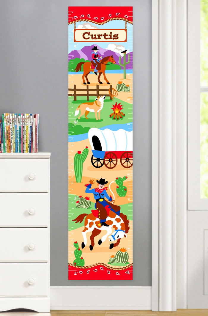Kids Western Horse & Cowboy Personalized Height Growth Chart Canvas or Self-Adhesive