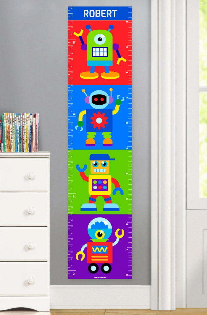 Friendly Robots Personalized Kids Height Growth Chart Canvas or Self-Adhesive