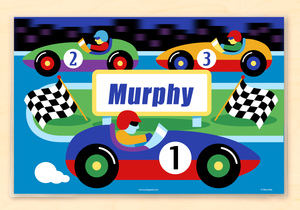 "Race Car Drivers Personalized Placemat 18"" x 12"" with Alphabet"