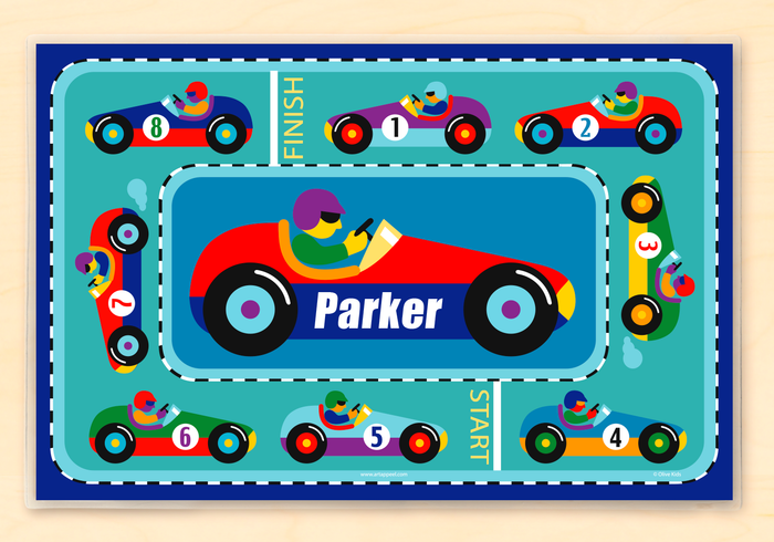 "Racing Sports Cars Personalized Placemat 18"" x 12"" with Alphabet"