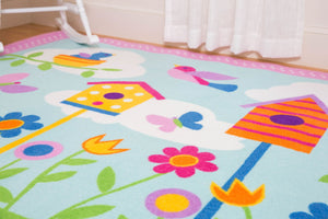 "Spring Birds Flowers Owl Area Rug - Pink & Blue Kids Room Rug 39"" x 58"""
