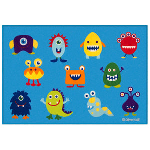 "Blue Little Monsters Alliens Kids Room Area Rug 39"" x 58"""