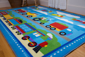 "Transportation Train Air Planes Trucks 39"" x 58"" or 5' x 7' Kids Room Area Rug"