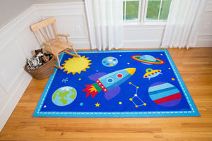 "Blue Galaxy Outer Space Rocket & Planets Kids Area Rug 39"" x 58"""