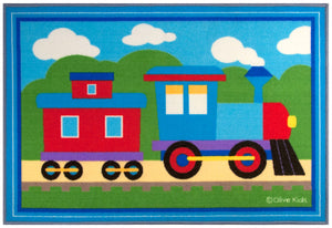 "Train Kids Area Rug 39"" x 58"" Blue & Red"
