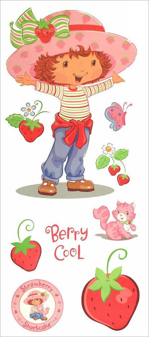 "Strawberry Shortcake Giant Wall Mural Decal 17"" x 40"" Peel & Stick 9-Piece Stickers"