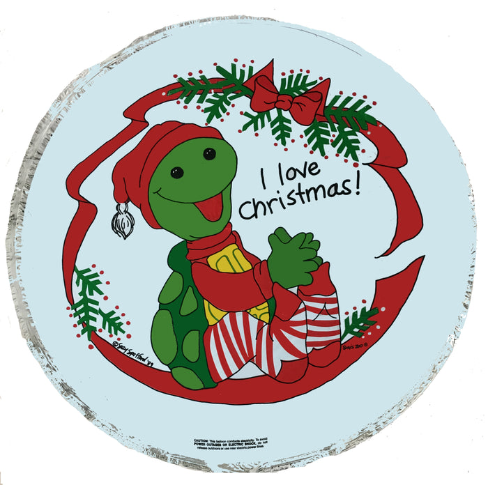 "Suzy's Zoo Corky Turtle I Love Christmas 18"" Party Balloon"