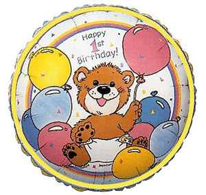"Suzy's Zoo Happy 1st Birthday Baby Bear 18"" Party Balloon"