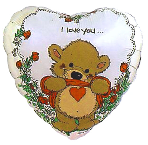 "Suzy's Zoo Willie Bear Love You Heart-Shaped Valentine 18"" Party Balloon"