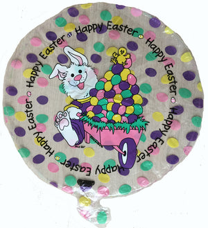 "Suzy's Zoo Bunny & Easter Egg Cart Happy Easter 18"" Party Balloon"