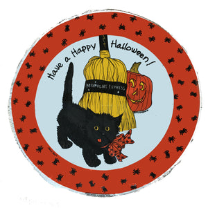 "Suzy's Zoo Black Cat Midnight Express Happy Halloween 18"" Party Balloon"