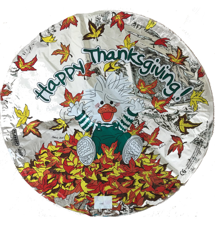 "Suzy's Zoo White Duck & Fall Leaves Happy Thanksgiving 18"" Party Balloon"